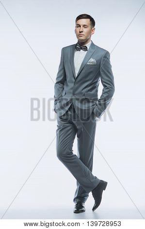 Portrait Of A Elegant Handsome Business Man On White Background