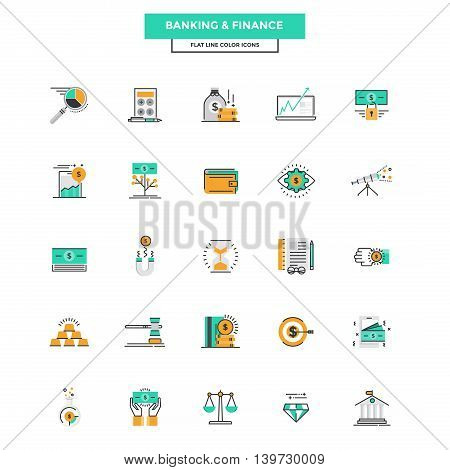 Set of Modern Flat Line icon Concept of Banking and Finance use in Web Project and Applications. Vector Illustration