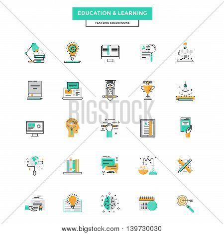 Set of Modern Flat Line icon Concept of Education Leaning Online Education Video Tutorial E-Learning and Thinking use in Web Project. Vector Illustration