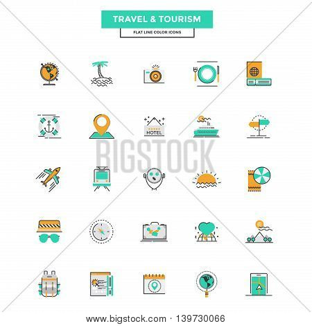 Set of Modern Flat Line icon Concept of Travel and Tourism use in Web Project and Applications. Vector Illustration