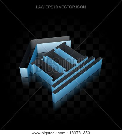 Law icon: Blue 3d Courthouse made of paper tape on black background, transparent shadow, EPS 10 vector illustration.