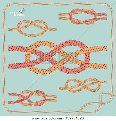 Vector nautical  rope knot set. Illustrator pattern brush is included.