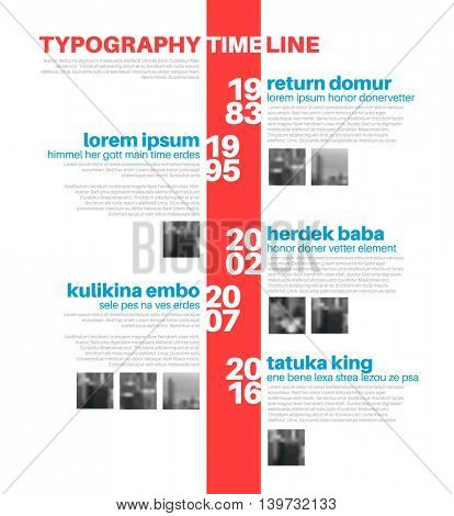 Vector Infographic typographic timeline report template with the biggest milestones, photos, years and description