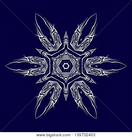 Sketch of tattoo as shuriken with six tips on darkblue background