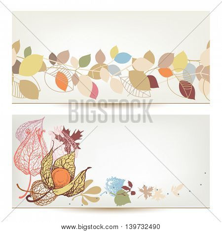 Autumn vector banners. Fall leaves and fruits header set