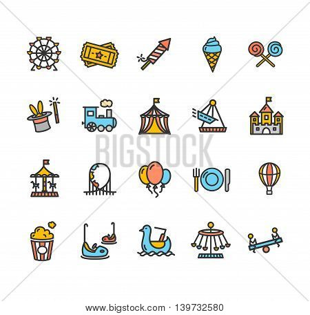 Amusement Park Outline Colorful Icon Set Isolated on White Background. Vector illustration