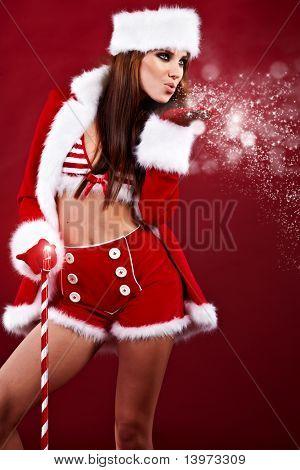 Portrait of beautiful sexy Girl Santa Claus Kleidung