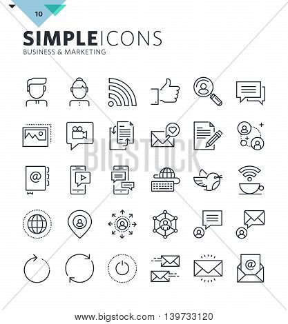 Modern thin line icons of internet communication and networking. Premium quality outline symbol collection for web and graphic design, mobile app. Mono linear pictograms, infographics and web elements pack.
