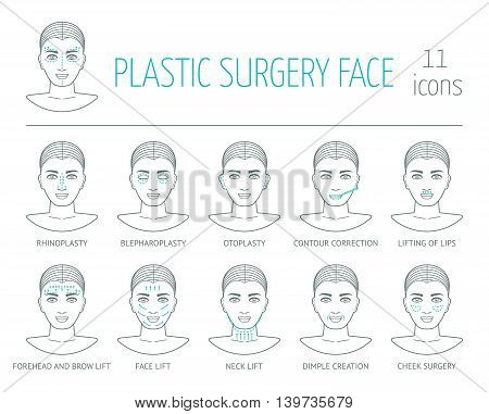 11 line plastic surgery face icons. Flat design. Vector illustration