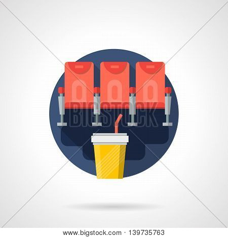 Row with three red chairs for cinema hall and soda in yellow cup. Film premiere, movie events and entertainment concept. Round flat color style vector icon. Web design element
