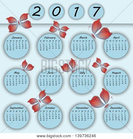 Abstract Colorful 3D Paper Butterfly Calendar 2017 Year