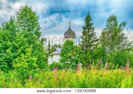 Architecture summer landscape - Church of the Annunciation in Arkazhi or the Church of the Annunciation on Myachino Lake in Veliky Novgorod Russia
