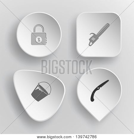 4 images: closed lock, gasoline-powered saw, bucket, hand saw. Industrial tools set. White concave buttons on gray background. Vector icons.
