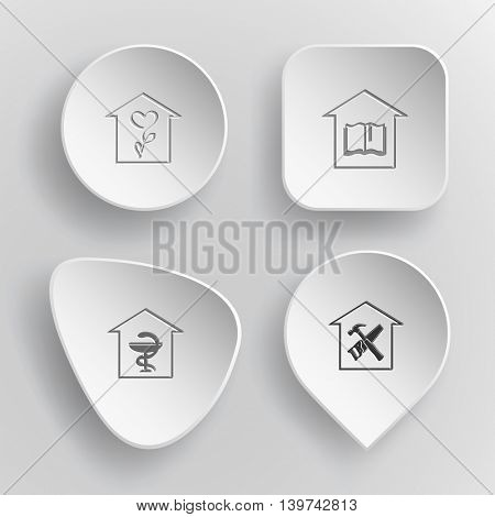 4 images: flower shop, library, pharmacy, workshop. Home set. White concave buttons on gray background. Vector icons.