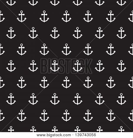 Seamless vector pattern with nautical anchors. Sea theme white anchor black repeat background.