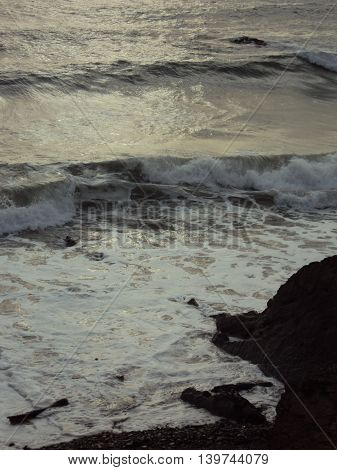 Beach seascape photographed at Bude in Cornwall
