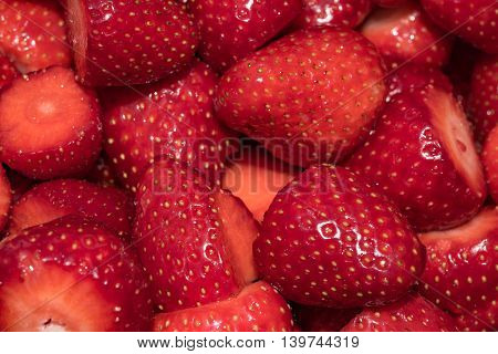 Chopped strawberries close up in southern Germany