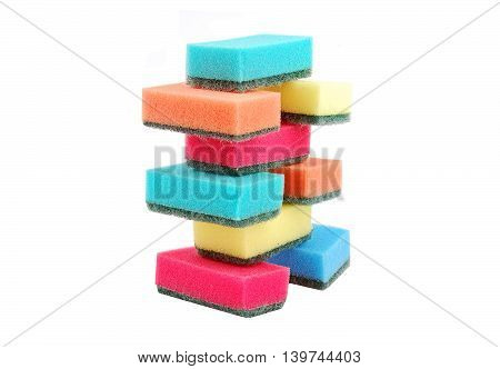 Several multicolor kitchen sponges for ware washing