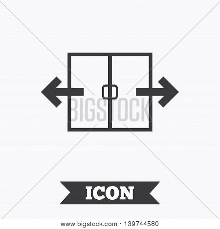 Automatic door sign icon. Auto open symbol. Graphic design element. Flat automatic door symbol on white background. Vector
