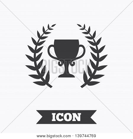 First place cup award sign icon. Prize for winner symbol. Laurel Wreath. Graphic design element. Flat prize symbol on white background. Vector