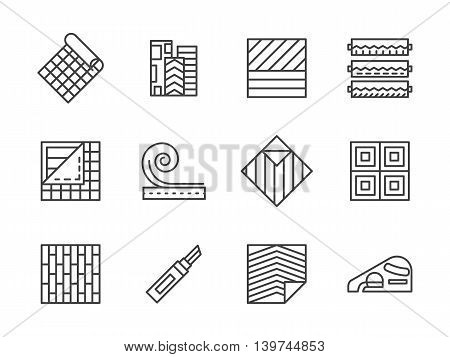 Building materials theme. Samples of linoleum flooring, floor covering services. Construction and renovation. Set of simple black line style vector icons on white.