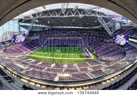 MINNEAPOLIS MN USA - JULY 24 2016: Fisheye View of Minnesota Vikings US Bank Stadium in Minneapolis on a Sunny Day