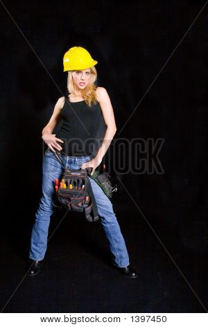Model With A Yellow Hard Hat On.