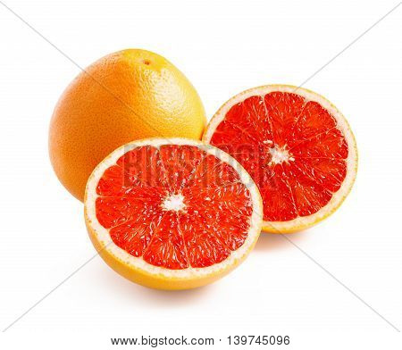 Grapefruit. Ripe grapefruit with halfs isolated on white background