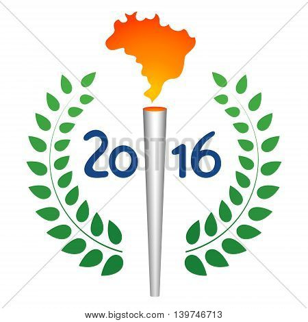 Summer sport games torch with Brazil map flame. Green laurel leaves around blue year number. Original abstract national flag color athlete vector badge concept.