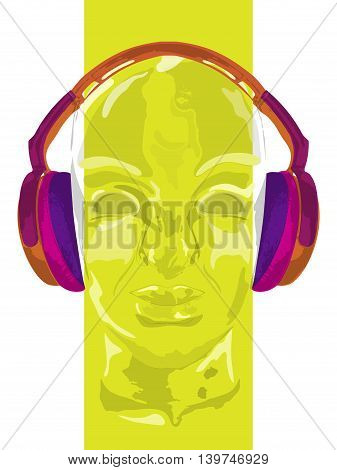 Cover for concept music. An abstract vector for man relaxing and listening music with headphones. Realistic art design of object with highlights and shadows. Artistic handdraw illustration. Colorful