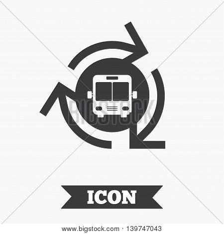 Bus shuttle icon. Public transport stop symbol. Graphic design element. Flat bus shuttle symbol on white background. Vector