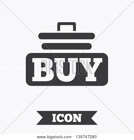 Buy sign icon. Online buying cart button. Graphic design element. Flat buy symbol on white background. Vector
