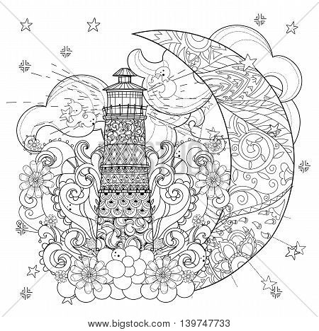 Cute lighthouse on christmas half moon with stars and flowers. Hand drawn doodle zen art.Adult anti stress coloring book or tattoo boho style.