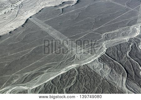 view from plane on the lines Nazca