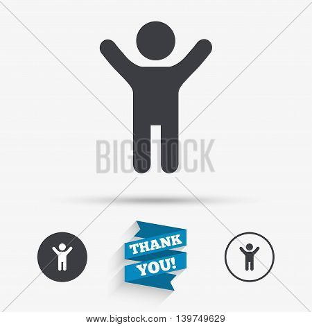 Child icon. Happy young boy symbol. Person silhouette. Flat icons. Buttons with icons. Thank you ribbon. Vector