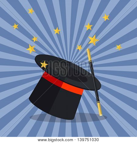Magician Hat with Magician Wand. Vector illustration poster