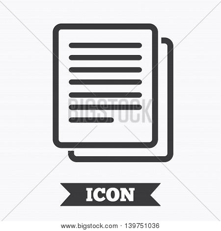 Copy file sign icon. Duplicate document symbol. Graphic design element. Flat copy symbol on white background. Vector