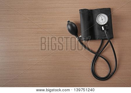Tonometer on wooden table