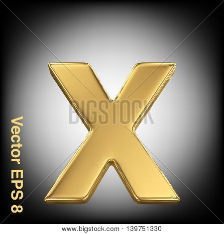 Vector letter x from gold solid alphabet. Eps 8 using mesh.