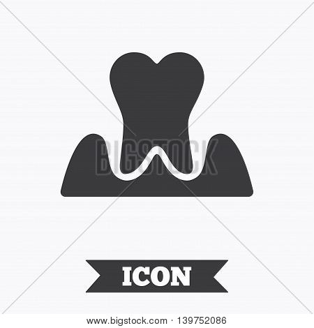 Parodontosis tooth icon. Gingivitis sign. Inflammation of gums symbol. Graphic design element. Flat parodontosist symbol on white background. Vector