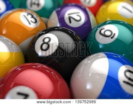 Closeup of Billiard balls on a pool table - 3d illustration