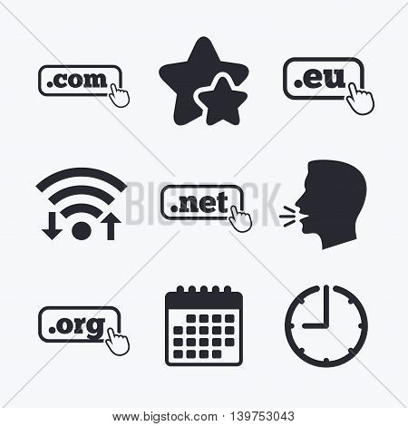 Top-level internet domain icons. Com, Eu, Net and Org symbols with hand pointer. Unique DNS names. Wifi internet, favorite stars, calendar and clock. Talking head. Vector