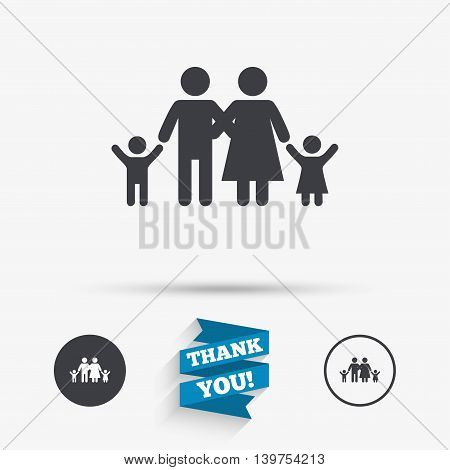 Family icon. Parents with children symbol. Family insurance. Flat icons. Buttons with icons. Thank you ribbon. Vector
