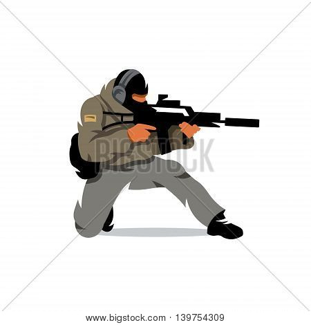 The soldier fires his gun down on one knee. Isolated on a white background