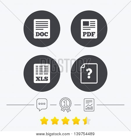 File document and question icons. XLS, PDF and DOC file symbols. Download or save doc signs. Chat, award medal and report linear icons. Star vote ranking. Vector