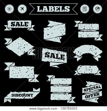 Stickers, tags and banners with grunge. Airplane icons. World globe symbol. Boarding pass flight sign. Airport ticket with QR code. Sale or discount labels. Vector
