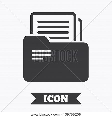 Document folder sign. Accounting binder symbol. Bookkeeping management. Graphic design element. Flat accounting symbol on white background. Vector