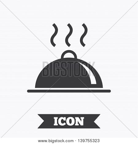 Food platter serving sign icon. Table setting in restaurant symbol. Hot warm meal. Graphic design element. Flat restaurant symbol on white background. Vector