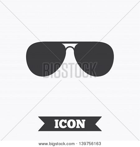 Aviator sunglasses sign icon. Pilot glasses button. Graphic design element. Flat sunglasses symbol on white background. Vector