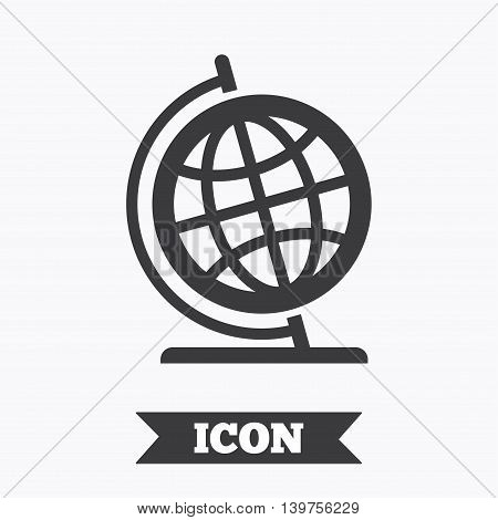 Globe sign icon. Geography symbol. Globe on stand for studying. Graphic design element. Flat globe symbol on white background. Vector
